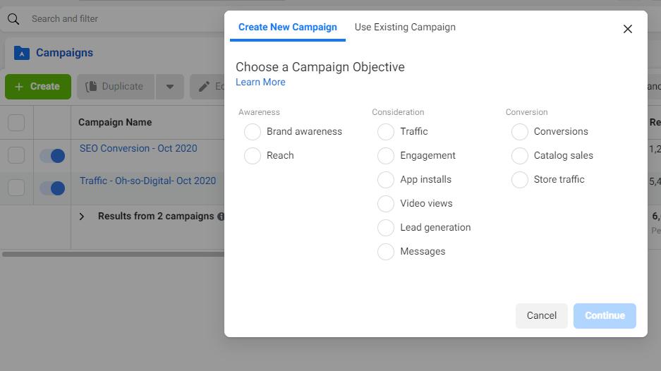 Facebook Ads Manager- Choose Objective