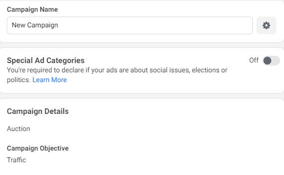 FAcebook Ads: Name your campaign
