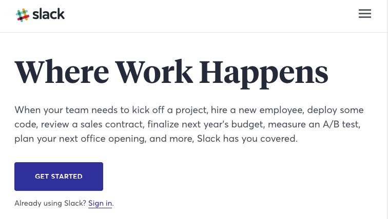 Slack Landing Page