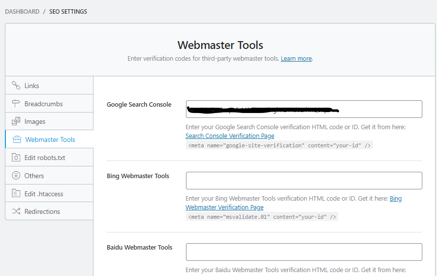 Verify your site on Google Search Console